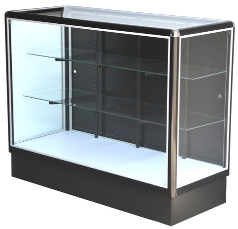 Glass Showcase With  Tempered Glass And Black Electrophoresis Aluminum Frame In Full Vision - 48 x 38 x20 - Inch