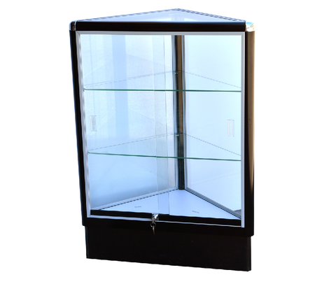 Corner Glass Display Case Triangle With Black Electrophoresis Aluminum Frame And Tempered Glass  - 38 x20 x 20 - Inch