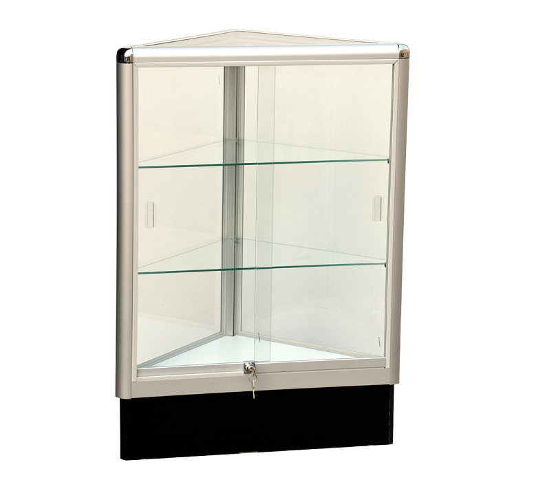 Corner Display Case With Aluminum Frame  38 x 20 x 20 - Inch