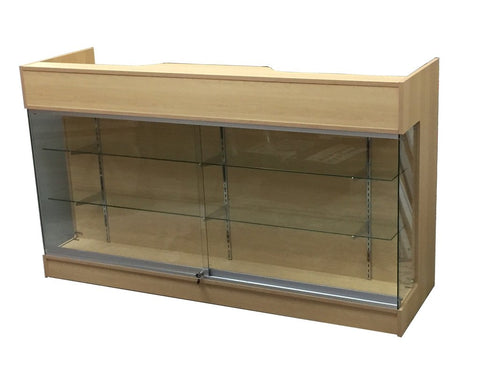 Display Counter 72(L )x 22(W) x 42(H) - Inch,   Maple Ledge-top Counter With Showcase  Front