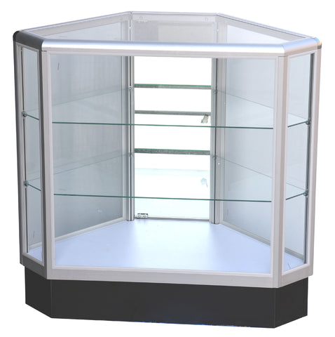 Aluminum Framed Hexagonal Corner Glass Showcase --- AL9