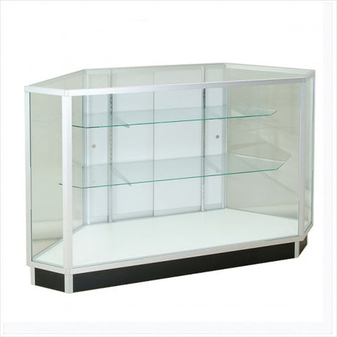 Hexagon Extra vision corner display showcase cabinet - StoreFixtureShowcase.com