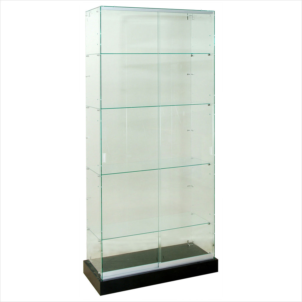 Beau Frameless Glass Tower Display Showcase Cabinet