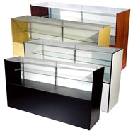 Floor Display Case 48(L) x 20(D) x 38(H) - Inch Half Vision Wood Showcase  Available in Black, Maple and White