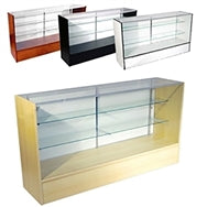 Glass Display Case 70(L) x 20(D) x 38(H) - Inch Full Vision Wood Showcase Available in Black, Cherry, Maple and White