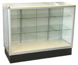 Glass Display Case  With  Tempered Glass And Aluminum Frame In Full Vision - 48 x 38 x20 - Inch