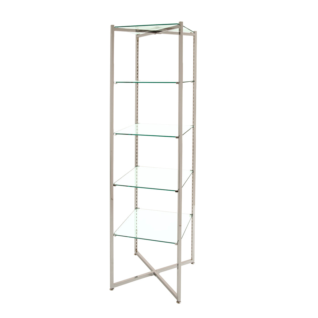 Glass Display Shelves- 68 x18 x18 - Inch Folding Glass Tower in Chrome or Brushed Chrome