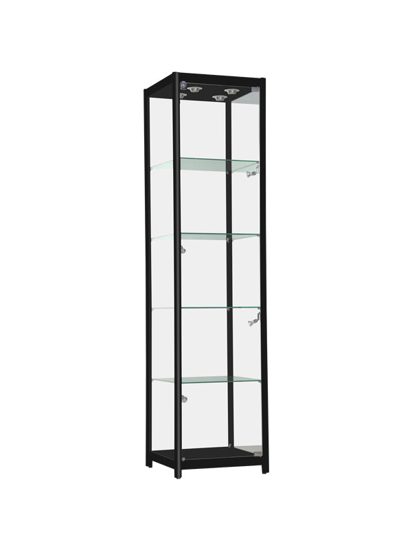 Glass Display Case - Glass Display Case with Black Aluminum Frame and  LED Lights - 19 1/2(L) x 19 1/2(W) x 78(H) - inch