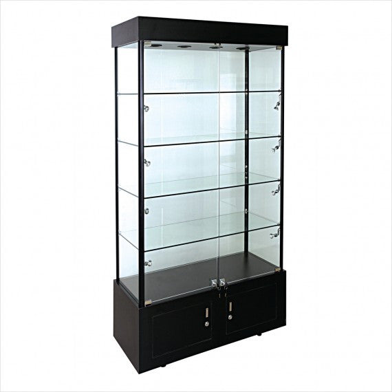 Rectangular glass tower display  showcase cabinet with lights - StoreFixtureShowcase.com