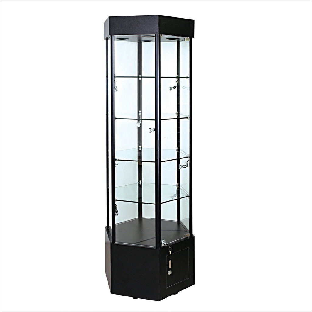 Hexagon glass tower display showcase cabinet - StoreFixtureShowcase.com
