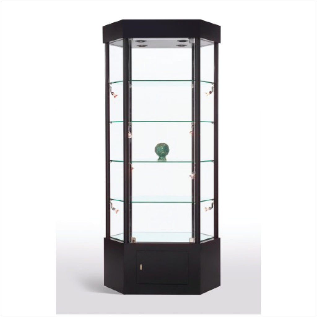 Elongated Hexagon Glass Tower Display Showcase Cabinet With Lights