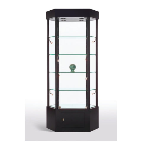 elongated Hexagon glass tower display showcase  cabinet- StoreFixtureShowcase.com