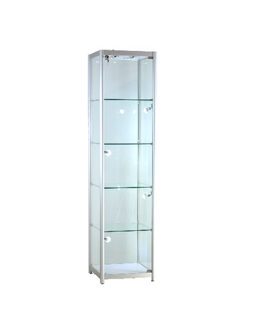 19.5x19.5x78-inch  pre-assembled anodized glass diplay tower, tempered glass, 4 adjustable shelves, locking hinged door,8 LED