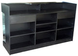 Retail Display Counter 72(L ) x 22(W) x 42(H) - Inch,  Black Ledge-top Counter With 4 Adjustable Shelves, 2 Drawers Back