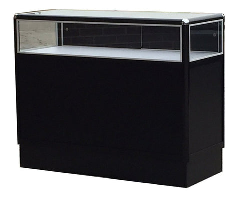 Retail Jewelry Display Cases With Aluminum Frames In Black Electrophoresis - 48 x 38 x 20 - Inch