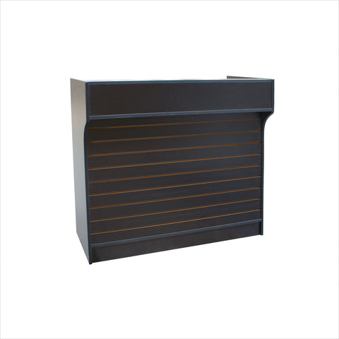 Ledgetop register counter with slatwall front - StoreFixtureShowcase.com