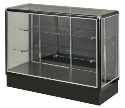 Show Case With  Tempered Glass And Black Electrophoresis Aluminum Frame In Full Vision - 60 x 38 x20 - Inch