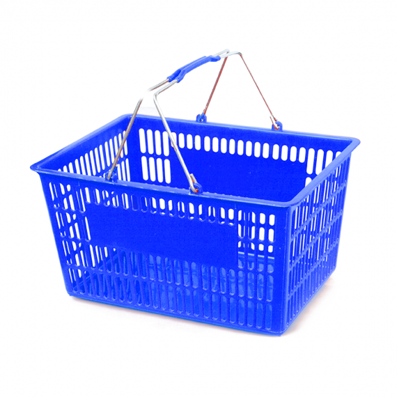Blue Plastic Shopping Basket - StoreFixtureShowcase.com
