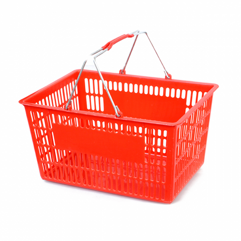 Red Plastic shopping basket - StoreFixtureShowcase.com