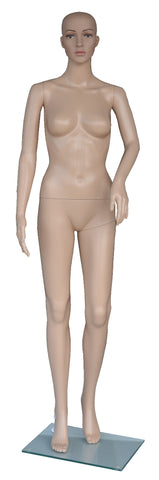 Cheap Mannequins Female, Plastic, Unbreakable Skin Tone with Glass Base. Height: 68, Chest:32, Waist:24, Hip: 33-Inch