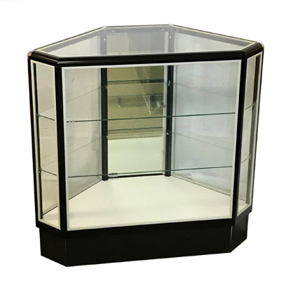 Hexagon Corner Display Case - Black - 38(H) x 20(W) - Inch, Mirror Door