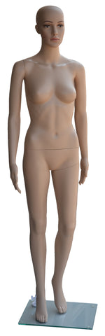 Female Mannequin, Plastic, Unbreakable Skin Tone with Glass Base. Height: 68, Chest:32, Waist:24, Hip: 33-Inch