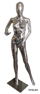 Female plastic mannequin silver chrome finish