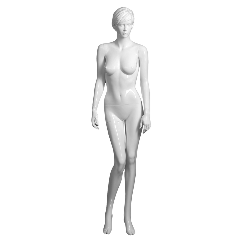 female mannequin in white