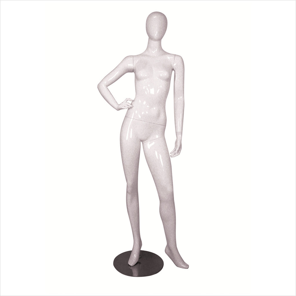 Female Fiber Glass Mannequin with Right Hand on Hip white