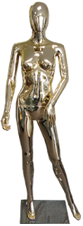 Female plastic mannequin golden chrome finish