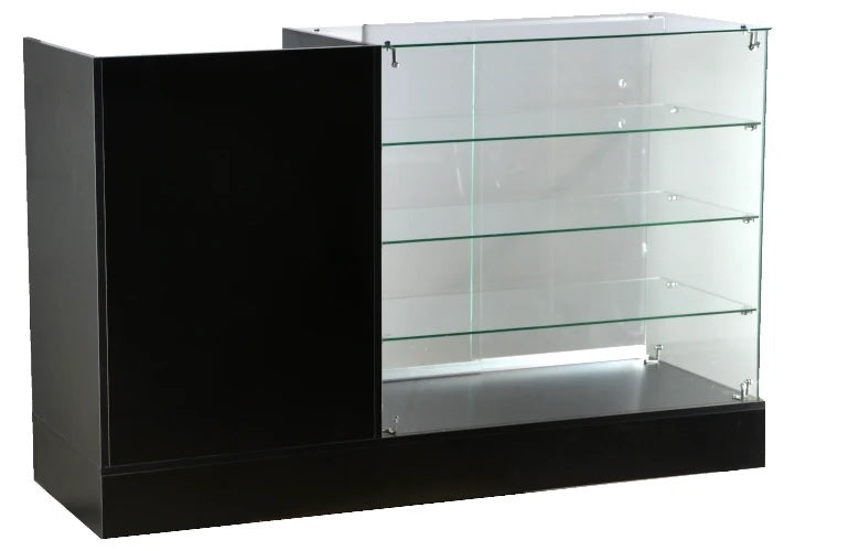 Frameless glass displaycase with register stand