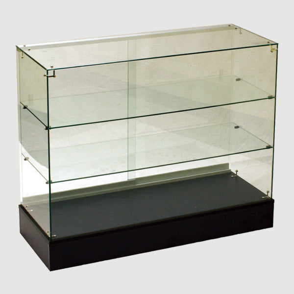 glass display case - frameless glass showcase - 48(L) x 18(W) x 38(H) - inch black