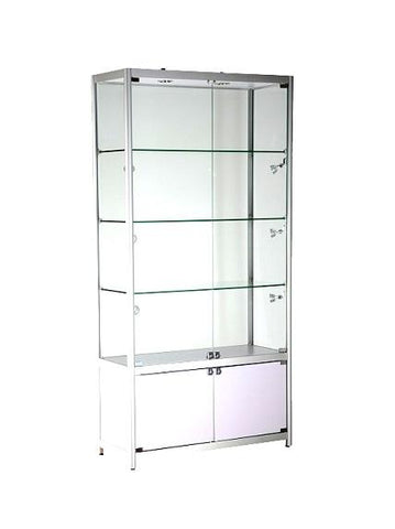 Glass storage display cases 39x15x78-inch lockable, aluminum frame, white MDF, slatwall panel, tempered glass, 3 shelves, LED