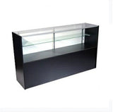 Half vision wood display showcase cabinet black