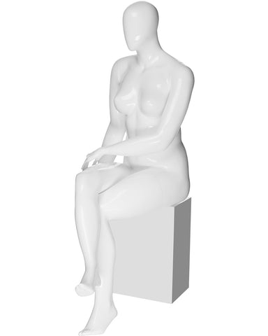 Plus size female egg head sitting mannequin