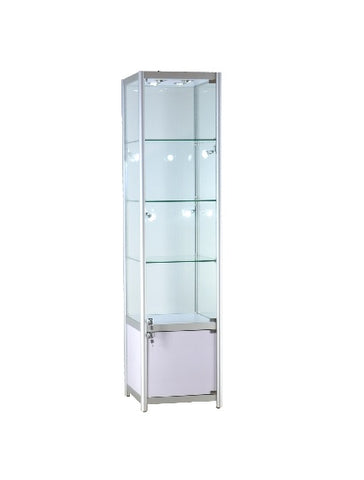 19 1/2 x 19 1/2 x 78 - inch Glass display case with storage, 8 LED and lock. All glass tempered, 3 adjustable shelves