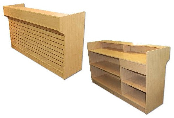 slat front ledge top counter maple