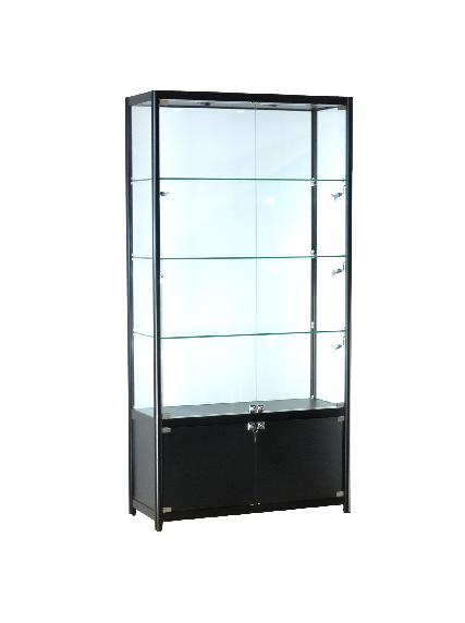 Glass storage display cases 39x15x78-inch lockable, black aluminum, melamine, slatwall panel, tempered glass, 3 shelves, LED