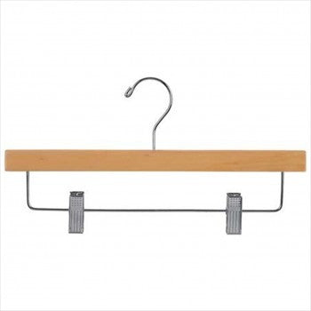 "14"" Wood Pant & Skirt hanger / 100 PCS - StoreFixtureShowcase.com"