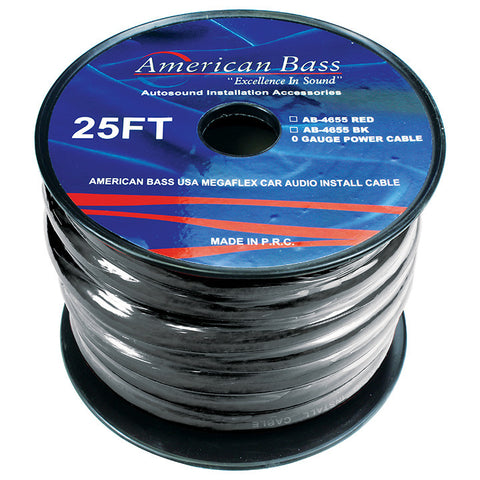 American Bass 0 Gauge black 25 ft. Roll(AB4655BK25FT)