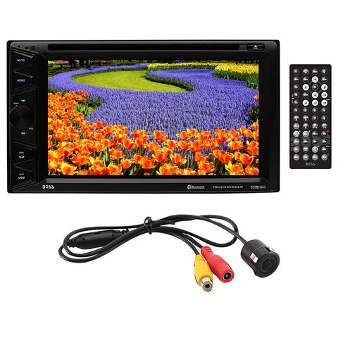"Boss 6.2"" D.Din DVD/BT With License Plate Backup Camera"