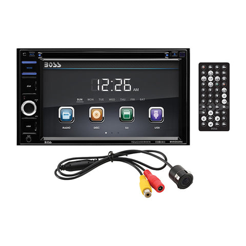 "Boss 6.2"" Double Din receiver DVD/CD Bluetooth Remote with Backup Camera"