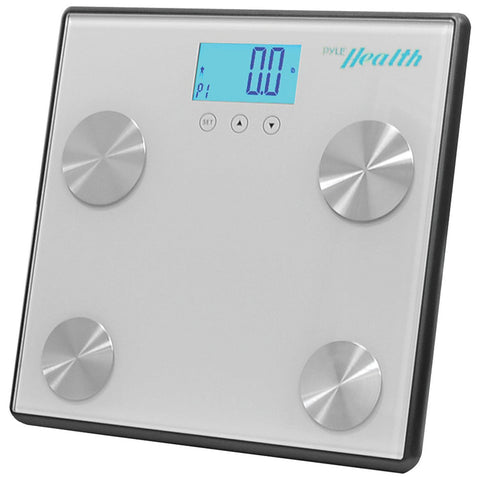 Pyle Bluetooth Digital Weight Personal Health Scale with Wireless Smartphone Transfer Gray