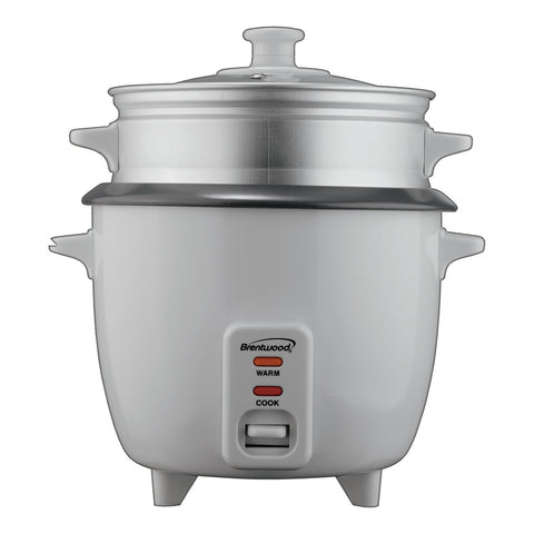 Brentwood Rice Cooker/Non Stick/With Steamer/8-Cups (Uncooked)(White Body)