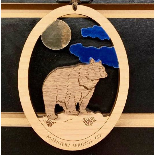 Wooden Colorado Bear Ornament
