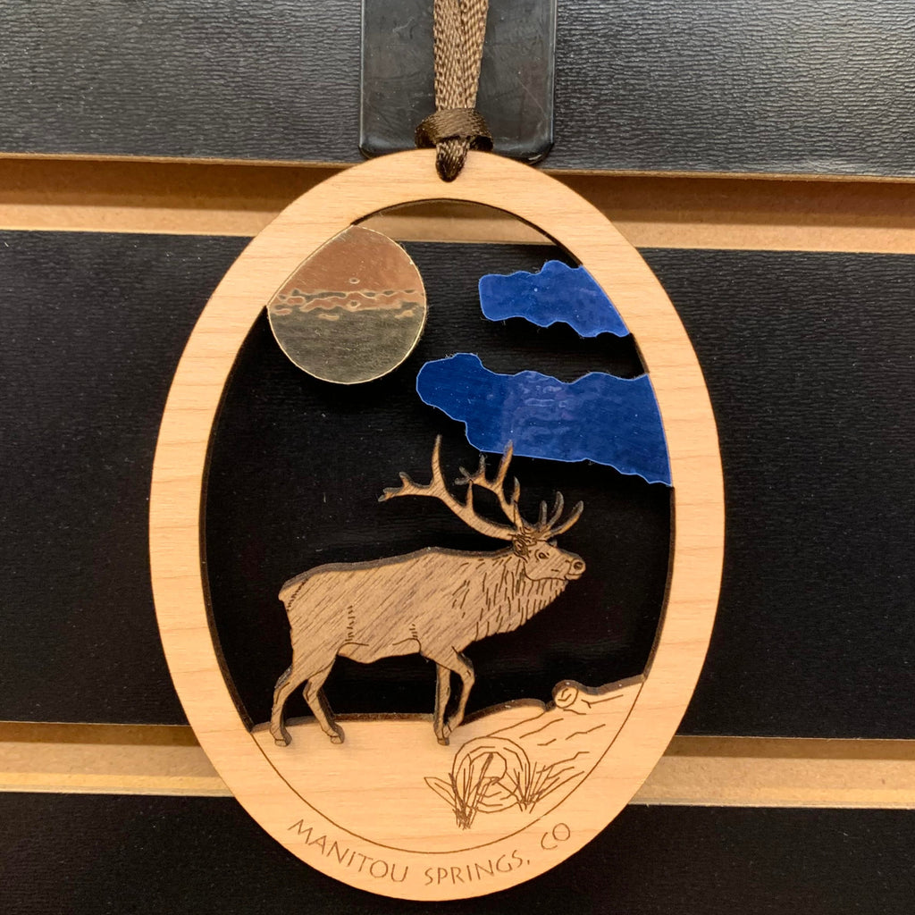 Wooden Colorado Elk Ornament