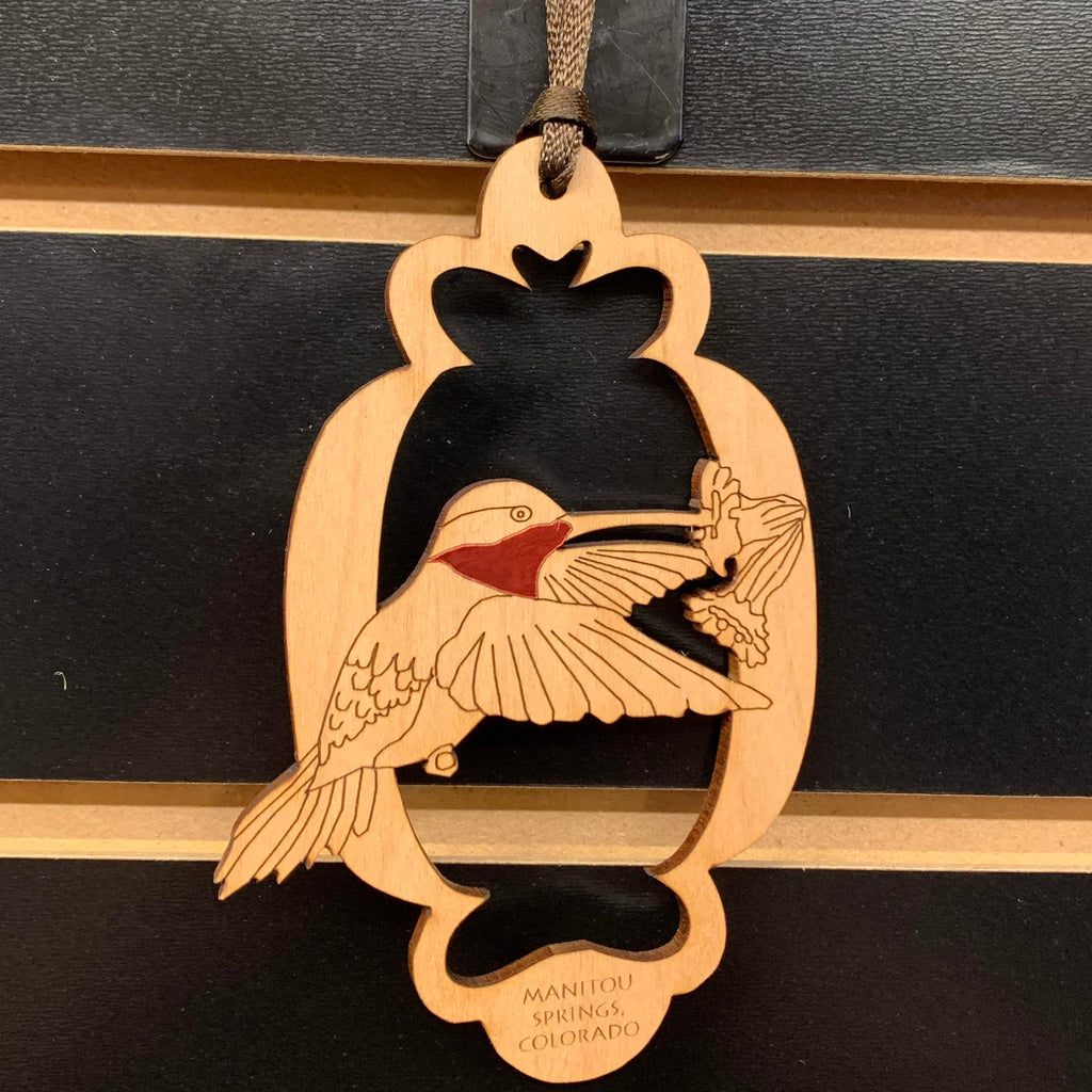 Wooden Hummingbird Ornament