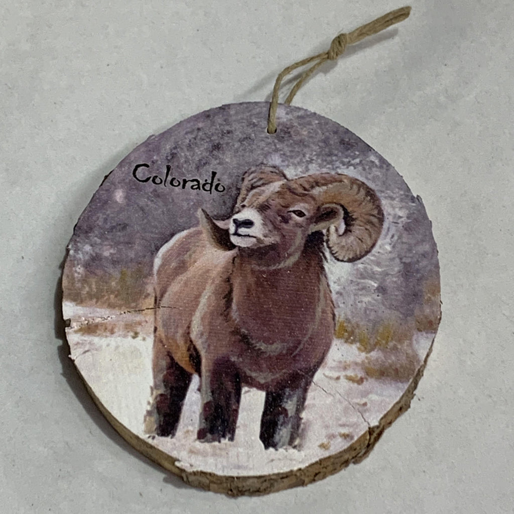 Big Horn Sheep Wood Ornament