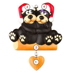 Black Bear Family Couple - Personalized Christmas Ornament