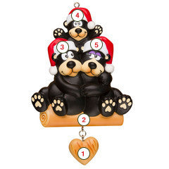 Black Bear Family of 3 - Personalized Christmas Ornament